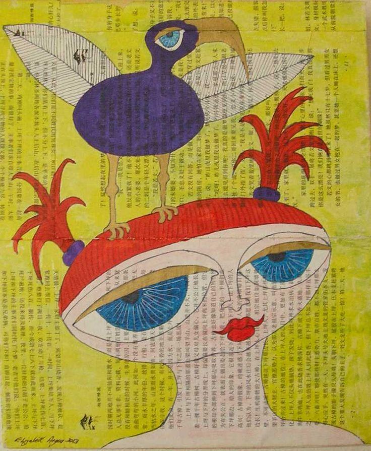 Face wall art, Bird wall art, female wall art, woman wall art, face art, bird art, female art, woman art, face mixed media, bird mixed media by ElizabethAngusArt on Etsy