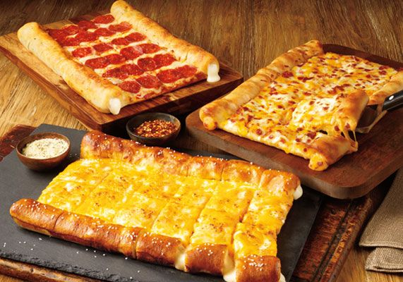 Cicis Pizza bacon stuffed crust pizza and pretzel stuffed crust pizza