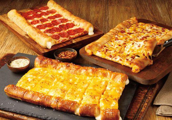 Cicis Pizza bacon stuffed crust pizza and pretzel stuffed crust pizza