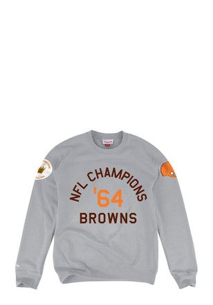 Mitchell and Ness Cleveland Browns Mens Grey Hometown Champs Fashion Sweatshirt