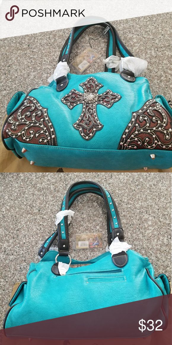 Montana West teal purse with cross NWT, teal in color, brand new. Montana West Bags