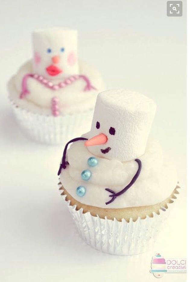 Cupcakes: trop chou les bonhommes de neige