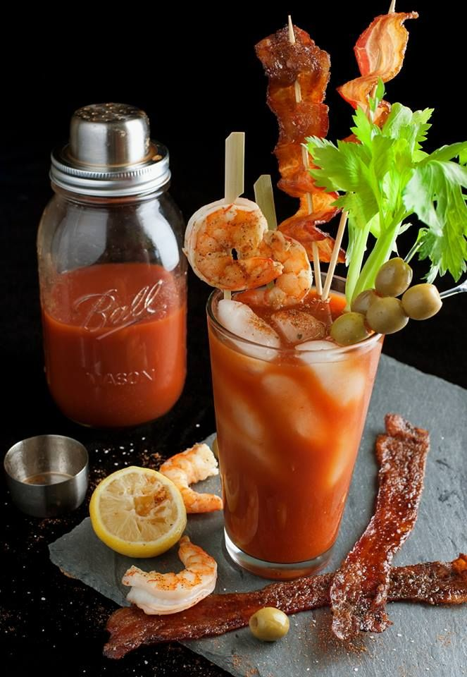 Bloody Mary Appetizer....Nice party idea!  http://modernmrscleaver.com/2013/11/13/ultimate-bloody-mary/