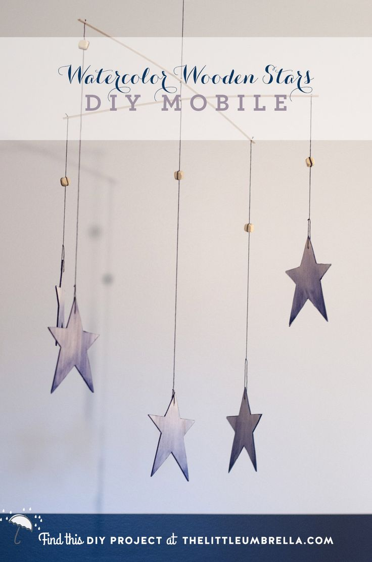 DIY Project: Watercolor Wooden Stars Mobile | The Little Umbrella