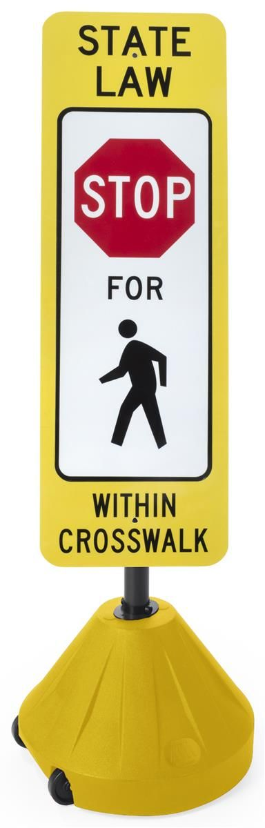 "12"" x 36"" Portable Crosswalk Sign, Weather-Resistant, Aluminum, Reflective - Yellow"