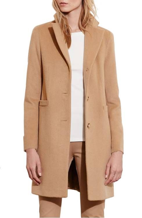 Lauren Ralph Lauren Wool Blend Reefer Coat (Regular & Petite) /