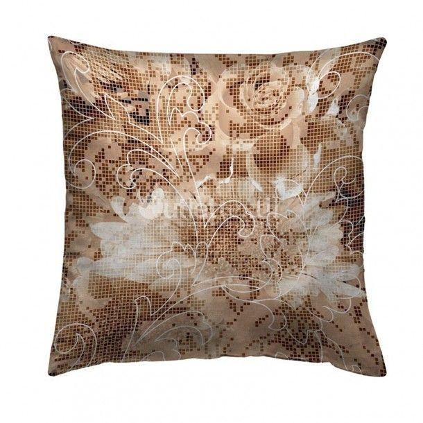 Cojín Decorativo 9110 Zebra Textil. Funda de cojín de estampado digital a pequeños cuadritos que forman un dibujo floral en tonos marrones y blancos. Combínalo con la funda nórdica 9010 Zebra Textil.