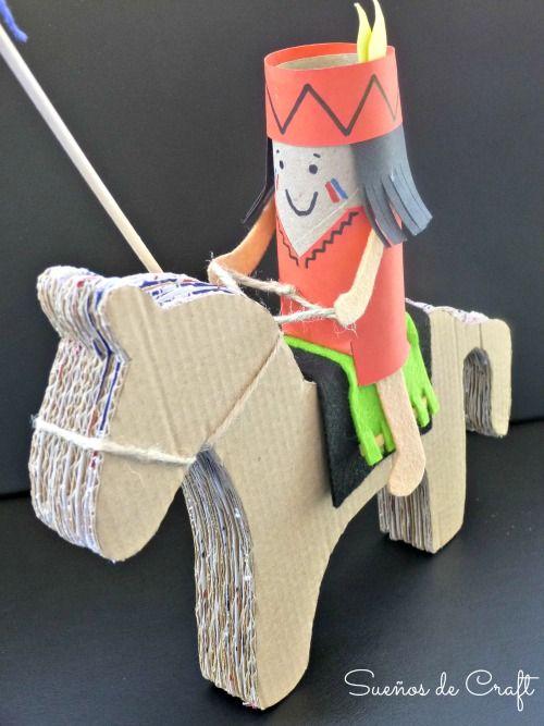 caballo carton rollo papel higienico manualidad indio