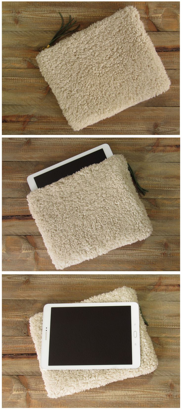 """case for tablet 9,7"""" made of fake fur with green suede tassel 9.7 inch tablet accessories case for ipad or e-reader gift idea"""