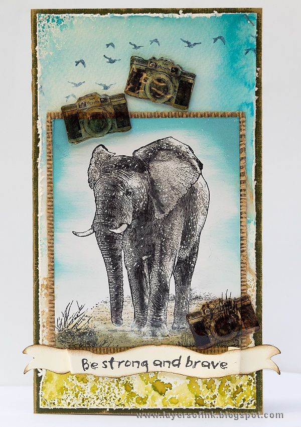 Layers of ink - Elephant Card Tutorial by Anna-Karin. Made for the Simon Says Stamp Monday Challenge Blog using stamps by Darkroom Door, and Ranger inks.