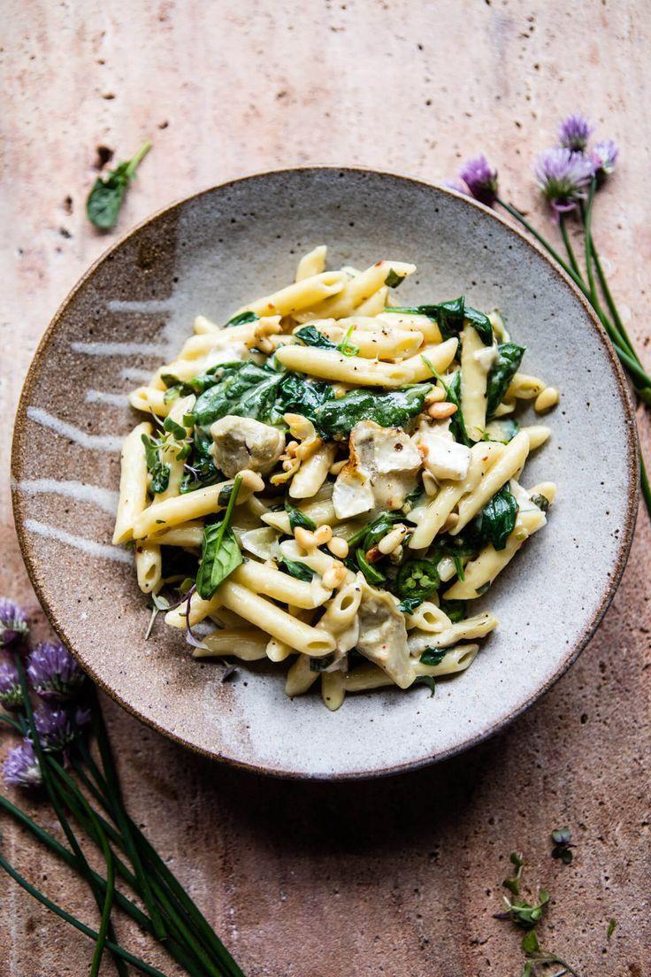 Lemony Spinach and Artichoke Brie Penne Pasta | halfbakedharvest.com @hbharvest