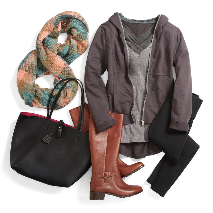 Weekend style calls for hoodies, leggings and your favorite winter boots. Add a cozy infinity scarf in soft hues for a pop of color & texture. Love this effortless look? Sign up for Stitch Fix for fashion finds & style tips like these!