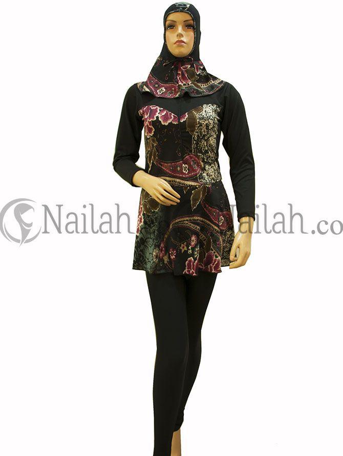Baju Renang Muslimah Batik Talika Bunga Ungu Harga Rp 189.000,- yang dikombinasikan dengan bunga cantik berwarna ungu. Tersedia Ukuran : M, L, XL