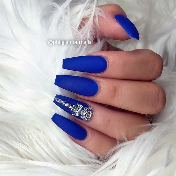 21 Matte Coffin Nails You Need To Try Right Now Stayglam Diamond Nails Blue Acrylic Nails Coffin Nails Matte