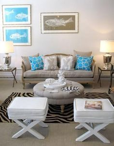 Cream And Turquoise Living Room
