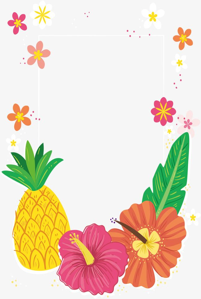 tropical colored flower decorative frame  vector png
