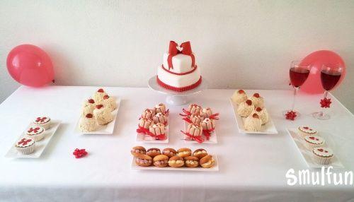 Zoete tafel wit met rood