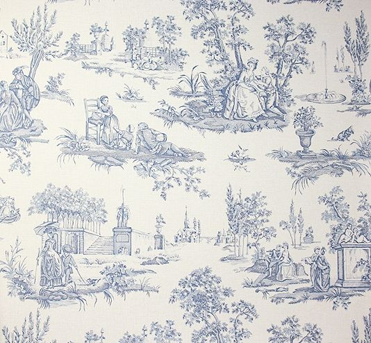 Courting Toile Wallpaper A Traditional Small Scale Toile
