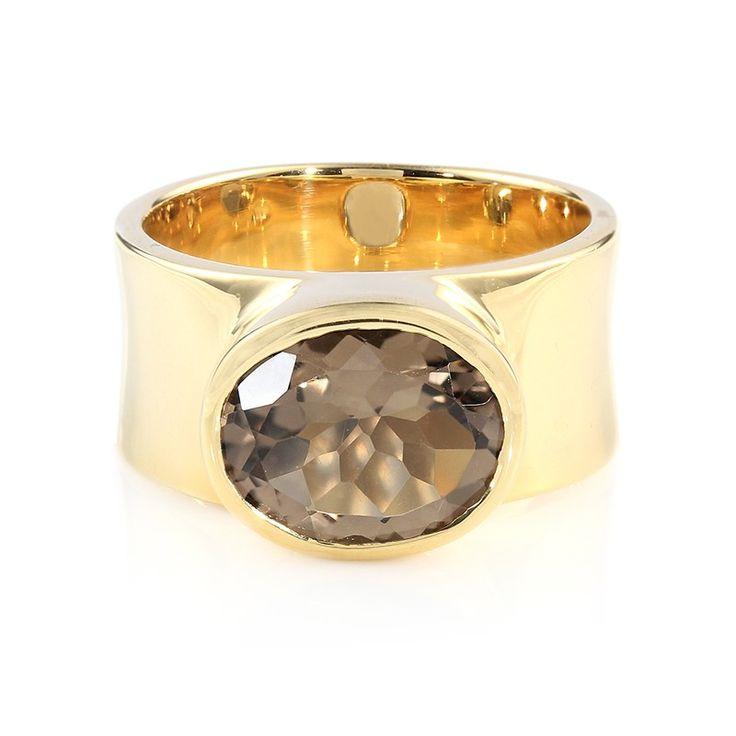 En été, je contraste ma tenue légère avec un bijou imposant - Bague pour femme en plaqué or sertie d'un Quartz fumé - Juwelo