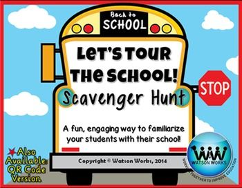 Let's Tour the School! Scavenger Hunt: A Back to School Activity  Great way to teach kids where everything is.