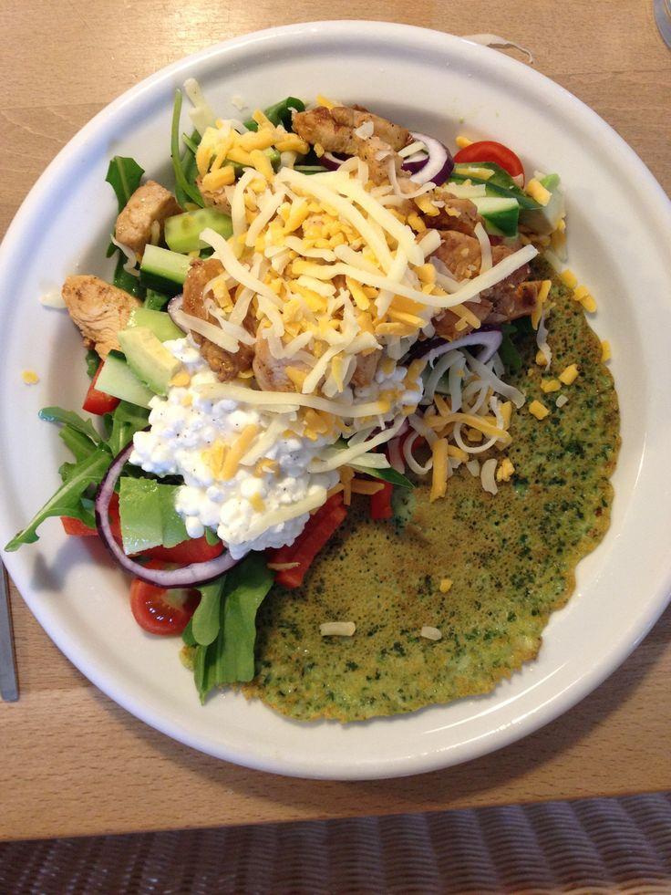 Spinat- og muskatnøddepandekager med kylling, hytteost, revet ost og grøntsager