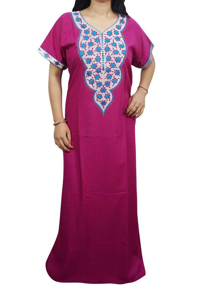 """Indiatrendzs Women's Soft Cotton Nightwear Pink Embroidered Sleepwear Nighty 48"""""""