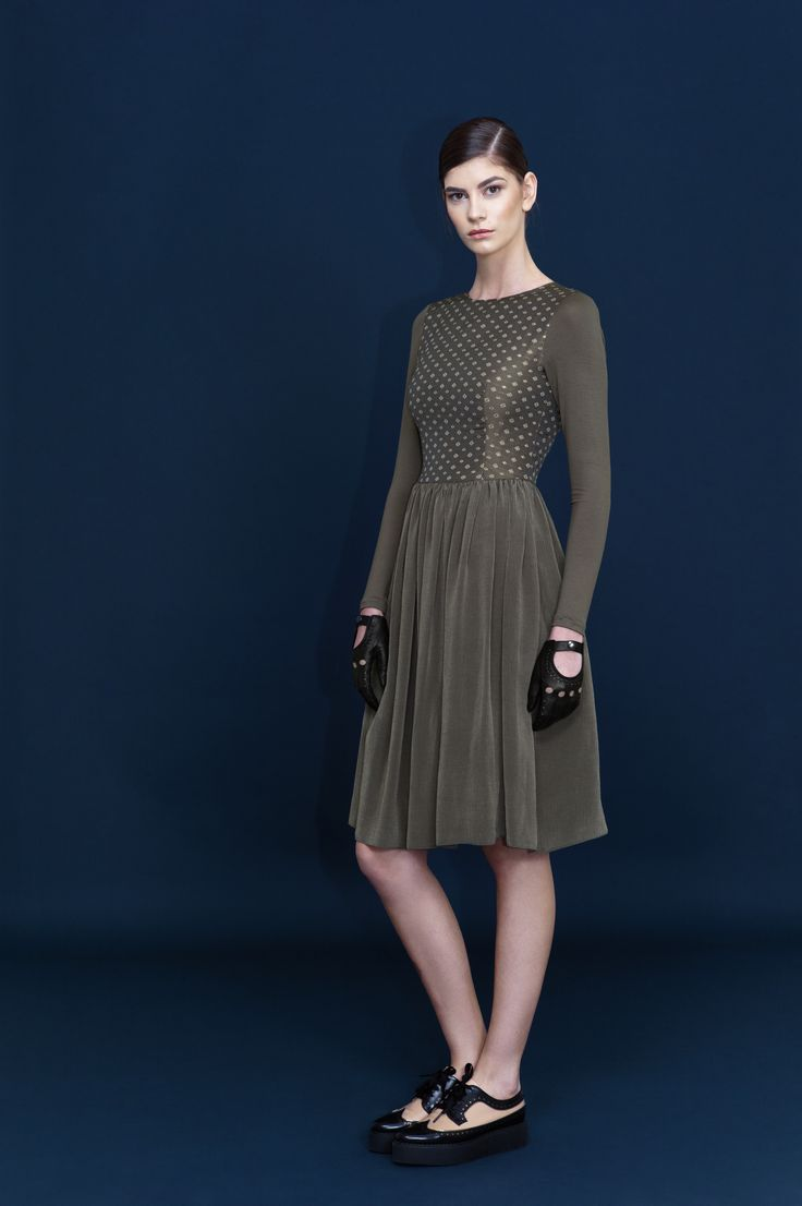 Glitter dust on this soft silk and jersey dress.