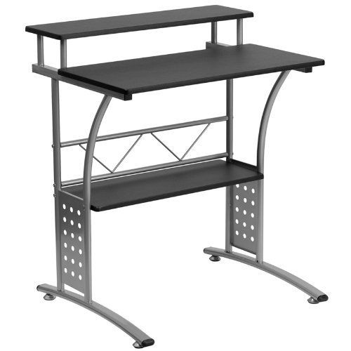 Small computer desk Black table desktop office home working station shelf