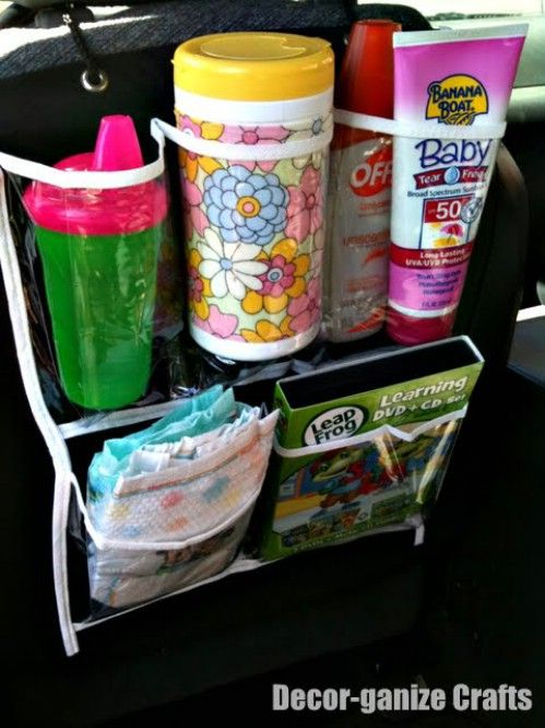 A shoe organizer works great for keeping things in the car neat and tidy. If you have children, you probably have a load of things that you need to take with you when you go. Small shoe organizers will fit all of those items and you can just hang them over the back of the front seat so that kids can get to what they need.