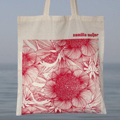 Victoria Red Cotton Bag   Camilla Meijer