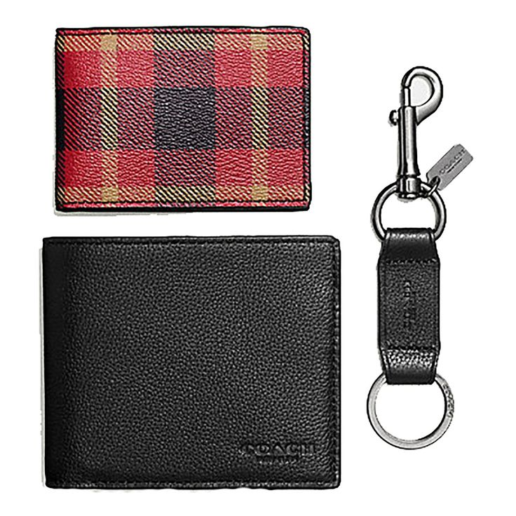 Coach Men's 3 piece Leather Gift Set: Wallet, Card Case and Key Chain #F55430