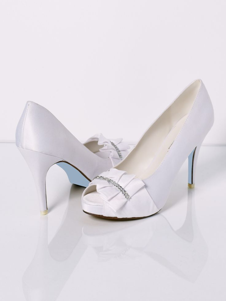 P Toe Wedding Shoe By David Tutera With Heel Platform Blue Leather Sole And Pleated Accent Beaded Trim Sizes Check These Out Order Them From