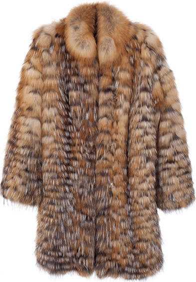 Yanay | Women's Red and Silver Fox Fur Coat - Free Shipping