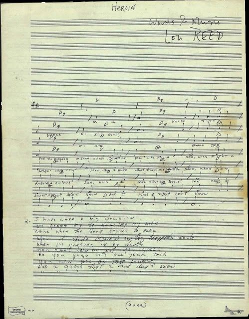 """Lou Reed's compositional manuscript with chords and lyrics to """"Heroin"""" """"Heroin"""" is a song by The Velvet Underground, released on their 196..."""