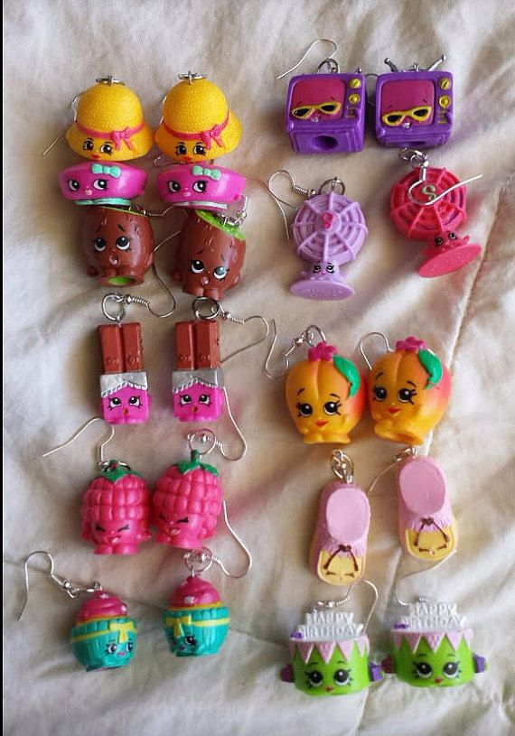 ADORABLE SHOPKINS EARRINGS!  VALENTINES SALE ###   From Shopkins Season - 1 and 3  Choose A Pair (1 ) I Have 1 of each made    Season 1   - A Pair