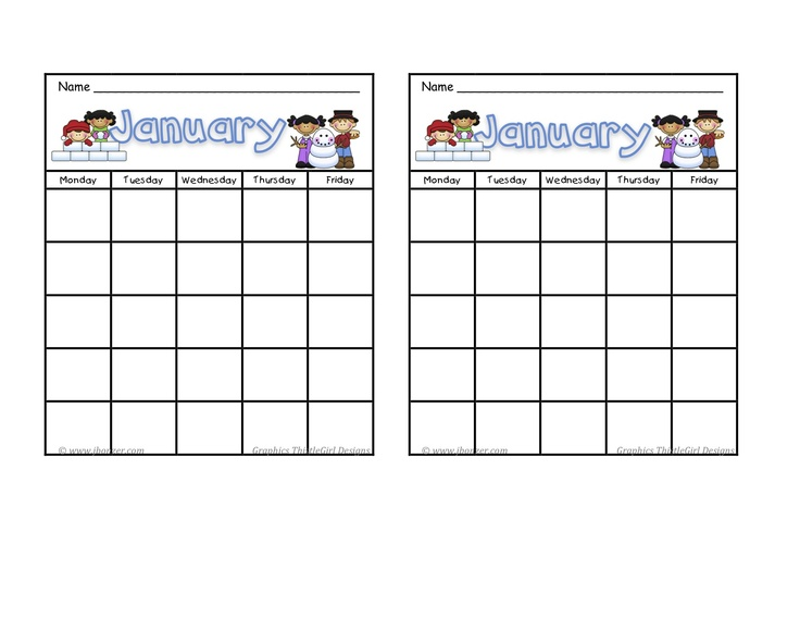 January calendar, Behavior charts and Printables on Pinterest