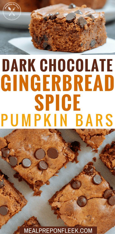 Dark Chocolate Gingerbread Spice Pumpkin Bars - Gingerbread meets dark chocolate in this flourless recipe for Dark Chocolate Gingerbread Spice Pumpkin Bars. Gluten Free. Grain Free. #glutenfree #grainfree