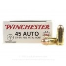 45 ACP Ammo For Sale - 230 gr FMJ Winchester USA Ammunition