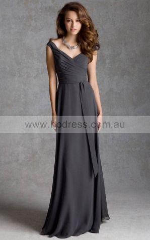 Sleeveless V-neck Zipper Chiffon Floor-length Formal Dresses zyh040--Hodress