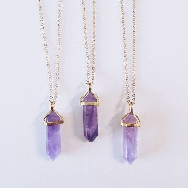 "Amethyst Stone on 18"" gold chain. Amethyst is a meditative and calming stone which works in the emotional, spiritual, and physical planes to provide calm, bal"