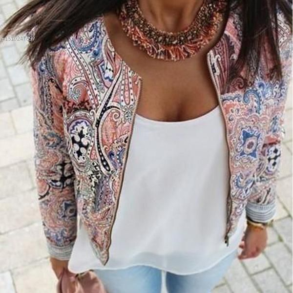 New European and American style retro print round neck jackets