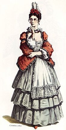 The Columbina is a very intelligent lady who tries to help the innumarate. She is almost always the smartest character on stage. The columbina is usually the arlecchino's love interest and helps him in assisting the innumarte.