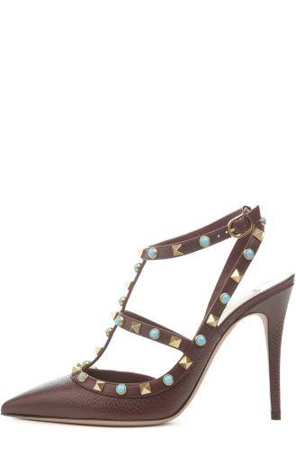 Женские красные туфли rockstud rolling с шипами и на шпильке Valentino, сезон SS…
