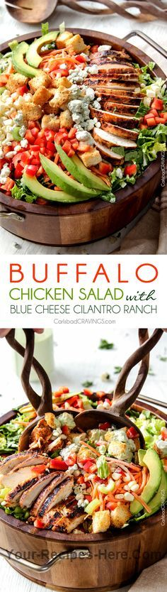 Buffalo Chicken Salad with Blue Cheese Cilantro Ranch Ingredients Meat 1 Bacon crumbles 1 Recipe buffalo chicken Produce 1 Avocado, large 3 stalks Celery 1 tsp Chives, dried 1/4 cup Cilantro, packed leaves and stems 1 Corn, fresh 1/2 tsp Dill, dried 2 Gar