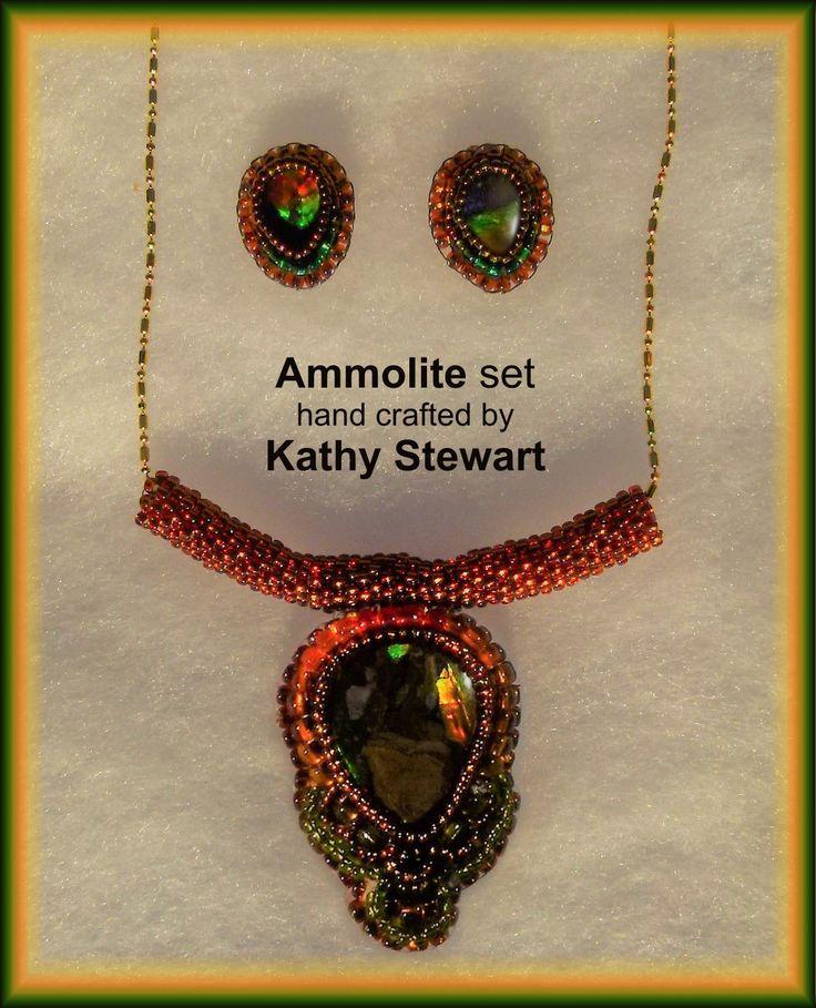 Beaded ammolite jewelry set, custom made by Kathy Stewart of GlamNGlitter Ecclectic Jewelry.