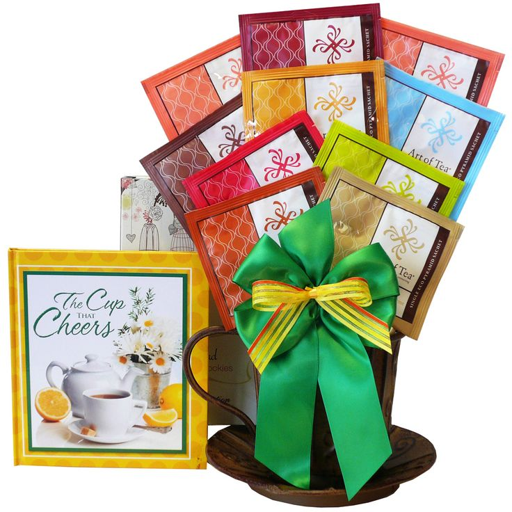"Enjoy a healthy, organic tea experience with our Cup of Cheer gift basket. Featuring a sampling of premium Art of Tea all natural, organic herbal and black tea blends paired with all natural cookies, and a lovely book, ""A Cup Of Cheer"" to read while enjoying each sip and nibble."