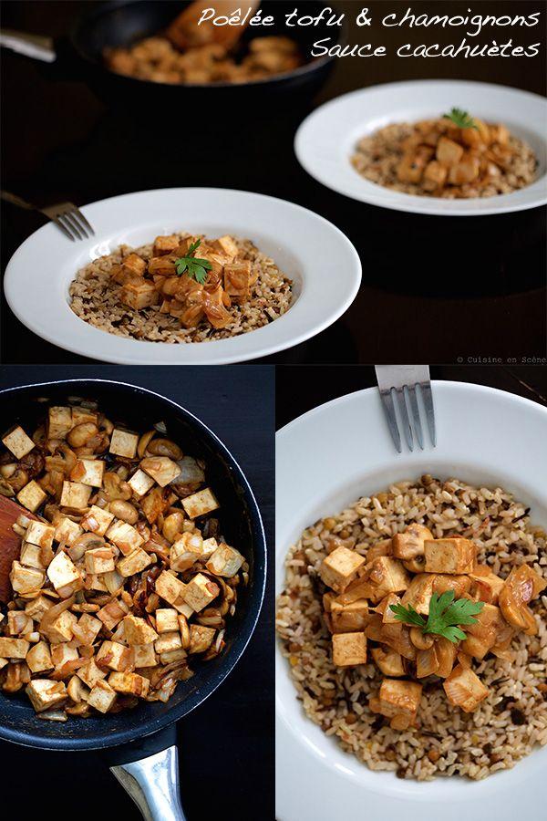 Poêlée de tofu aux champignons, sauce cacahuète | Pour 3. Ajout de quelques tranches d'aubergines grillées et une pulvérisation d'huile de nigelle (indétectable en bouche). Doubler les proportions de sauce pour imbiber le riz également. Rajouter des cacahuètes entières pour apporter du croquant à la recette.