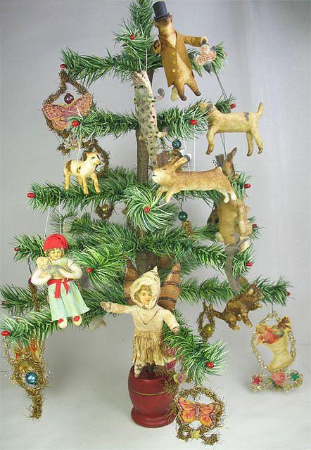 Feather tree spun cotton ornaments