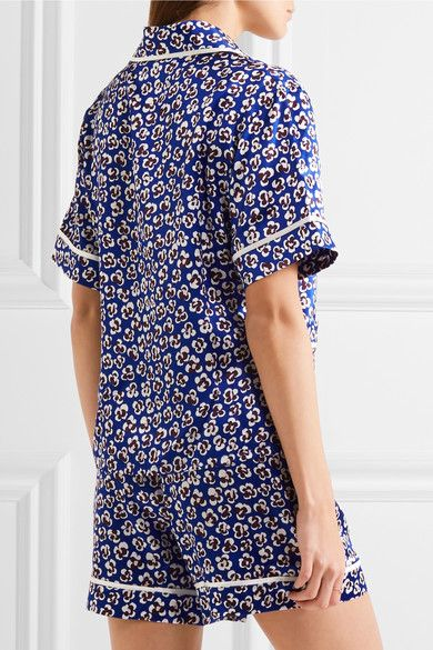 Olivia von Halle - Millicent Printed Silk-satin Pajama Set - Cobalt blue -