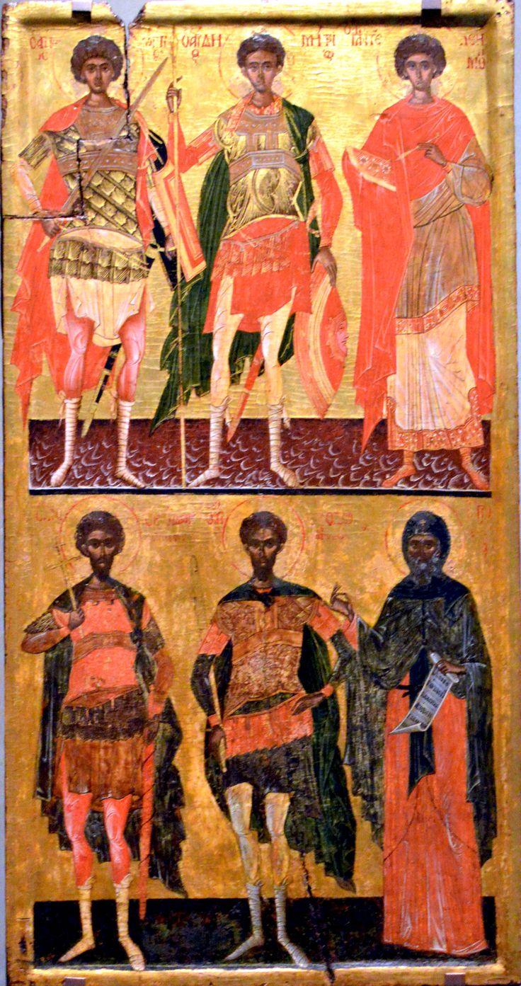 Музей Византийской культуры Салоники, Греция From Museum of Byzantine Culture Thessaloniki, Greece Two-zone icon with military saints